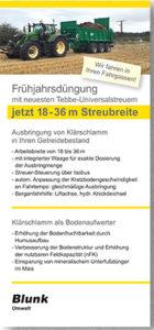 Blunk Folder Frühjahrsdüngung-Tebbe Universalstreuer 18-36 m