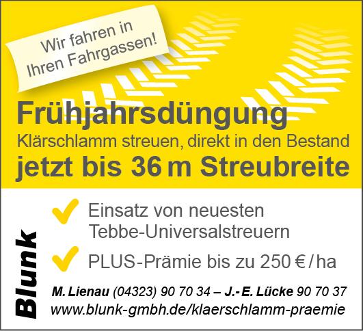 Blunk Klärschlamm Düngung mit Tebbe Universalstreuer bis 36 Meter