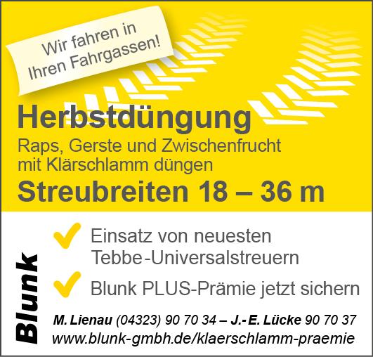 Blunk Klärschlamm Düngung Herbst mit Tebbe Universalstreuer bis 36 Meter