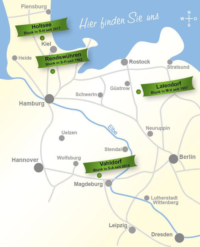 Standorte der Blunk-Gruppe ab 2021