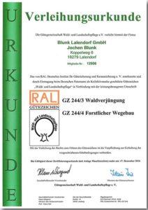 Blunk RAL Gütezeichen Forst