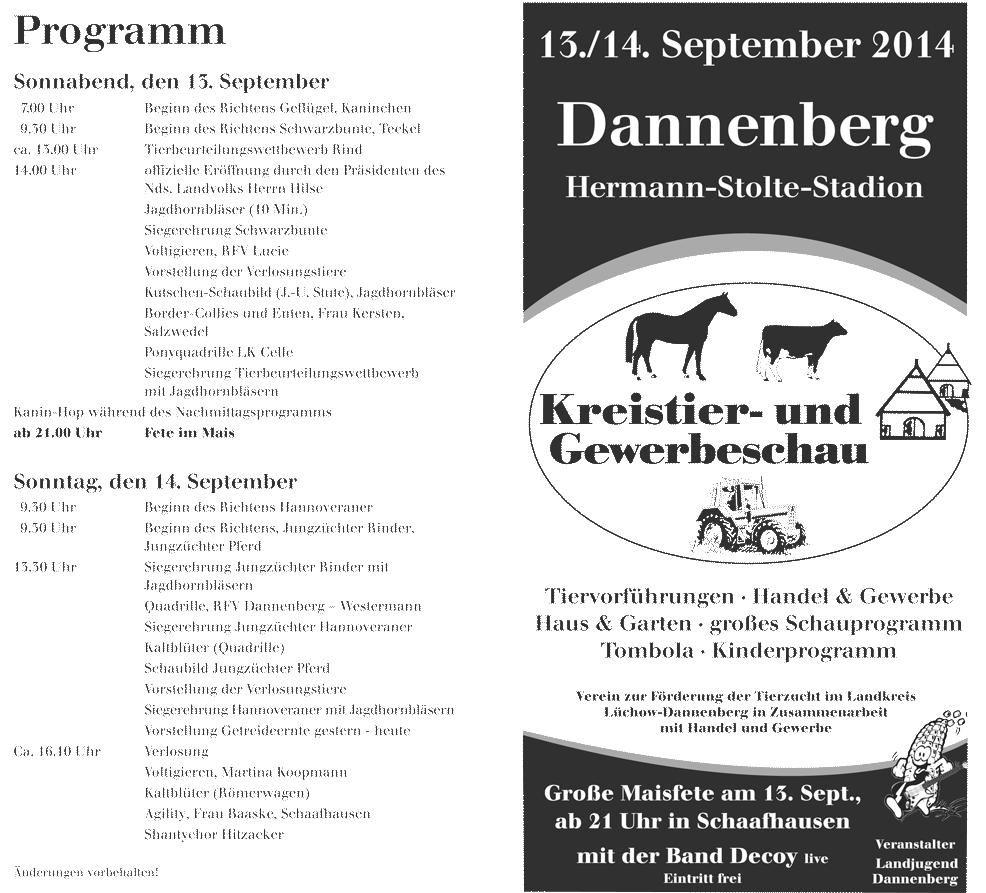 Blunk auf der Kreistier- und Gewerbeschau in Dannenberg – Programm
