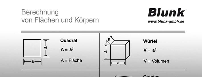 Blunk Formelsammlung Berechnungstabelle - titel