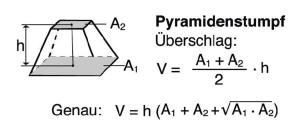 Blunk Formelsammlung Berechnung Pyramidenstumpf