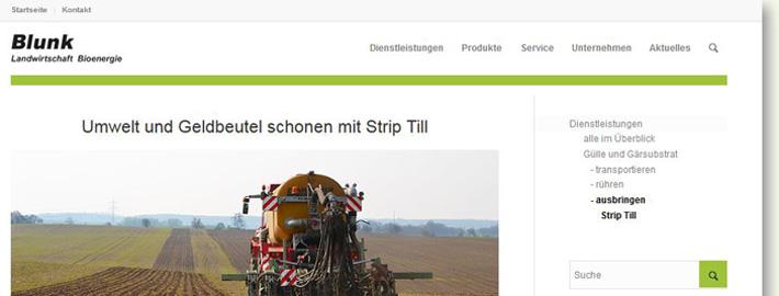 Detailinformationen der Blunk GmbH zur Deisntleistung Ausbringen und Einarbeiten von Gülle mit Strip Till