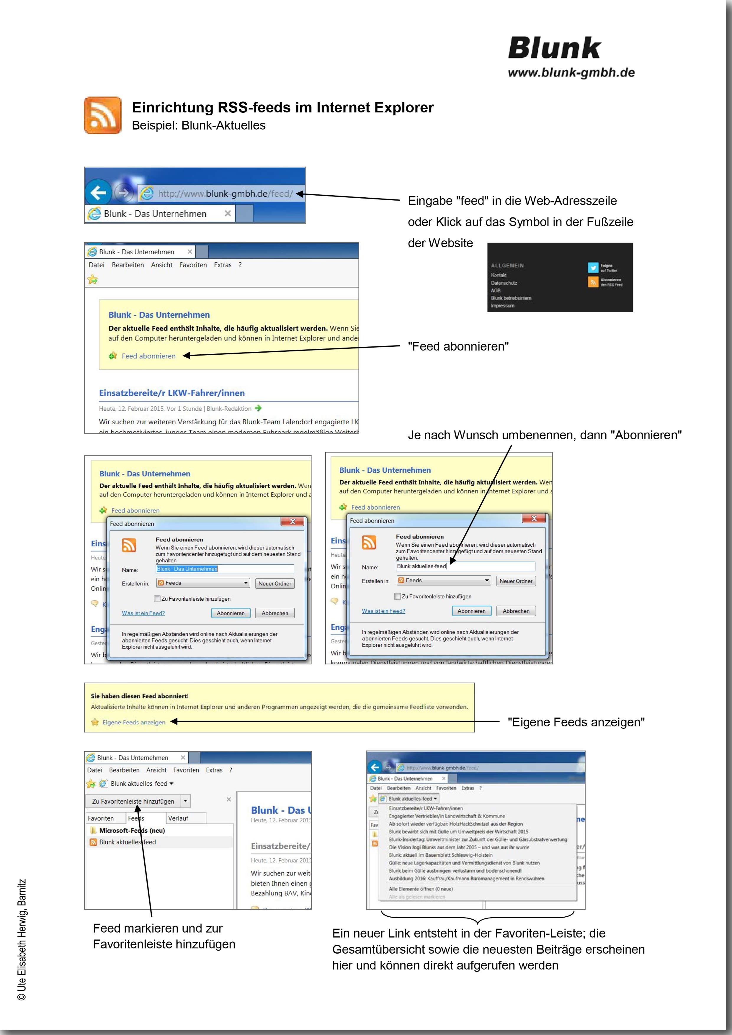 Blunk RSS feeds Internet Explorer -titel