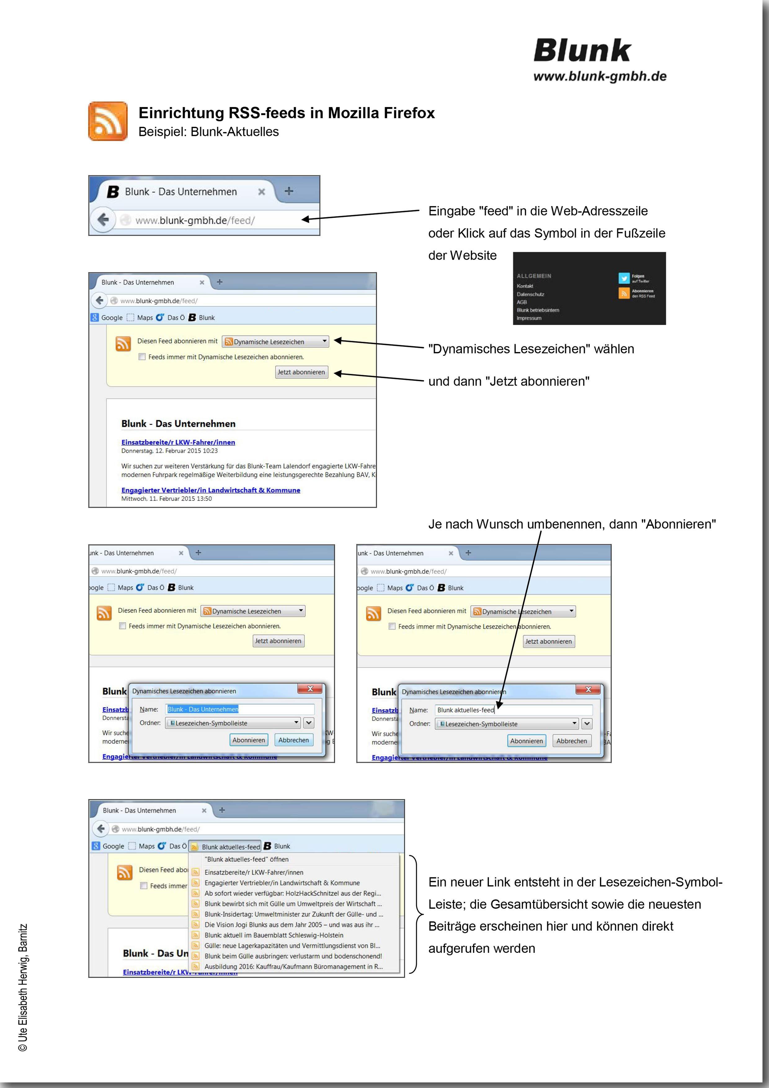 Blunk RSS feeds Mozilla Firefox -titel