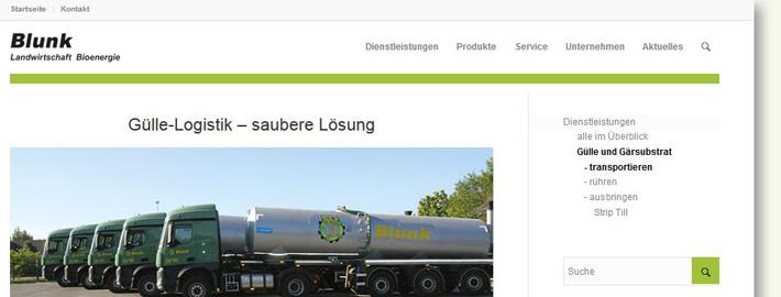 Leistungen zu Logistik und Transport von Gülle und Gärsubstraten der Blunk Unternehmen