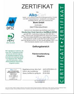 Blunk DFSZ Zertifikat Forst Dienstleistungen