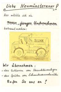 Blunk 35 Jahre erster Flyer mit Visitenkarte 1982