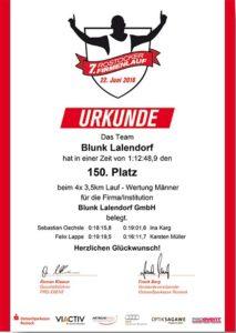 Blunk Rostocker Firmenlauf Urkunde