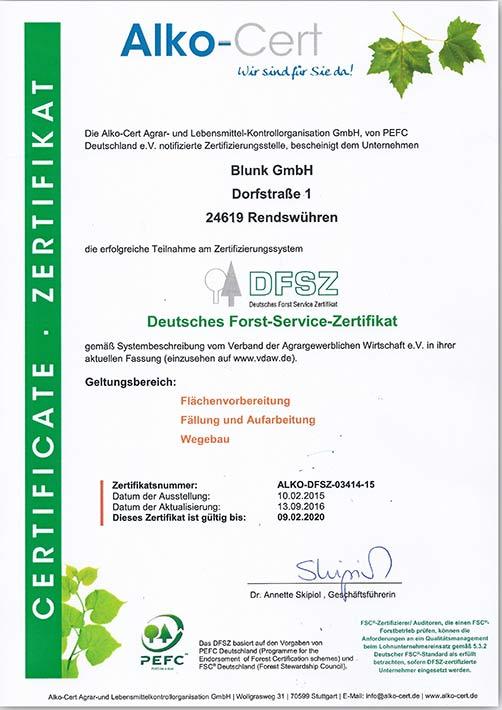 Blunk DFSZ Zertifikat 2016