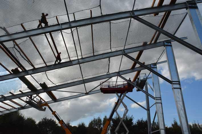 Blunk Wiederaufbau Pultdach Holzhackschnitzel Lager