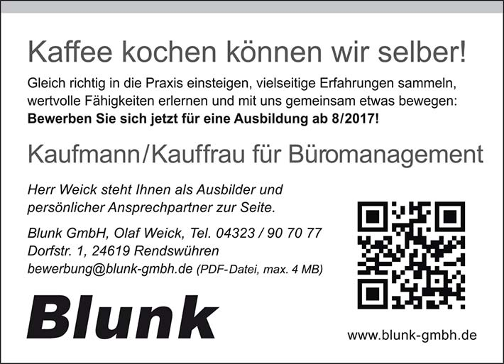 Blunk Anzeige Ausbildung Bürokauffrau Bürokaufmann