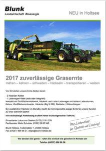 Blunk Flyer Grasernte 2017