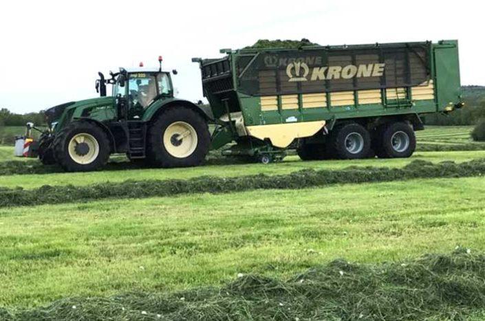 Blunk mit Kombi-Großraum-Ladewagen Krone ZX 430 G beim Praxistestt für die GRasernte 2017