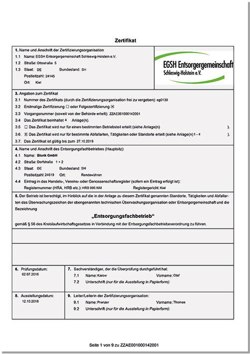 Blunk EfB Entsorgungszertifikat 2018