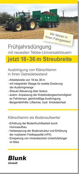 Blunk - Fruehjahrsduengung mit Tebbe Streuer 18-36 Meter in vorhandenen Fahrspuren