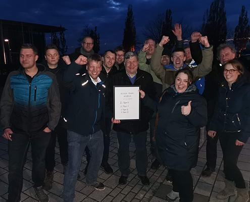 Blunk Gruppe auf Betriebsausflug zum Boßeln in Wismar - die Siegermannschaft