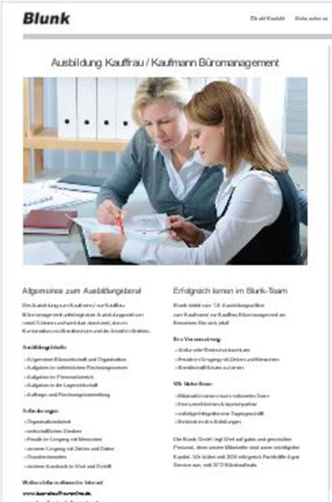 Informationen zur Ausbildung Büromanagement bei Lohnunternehmen Blunk