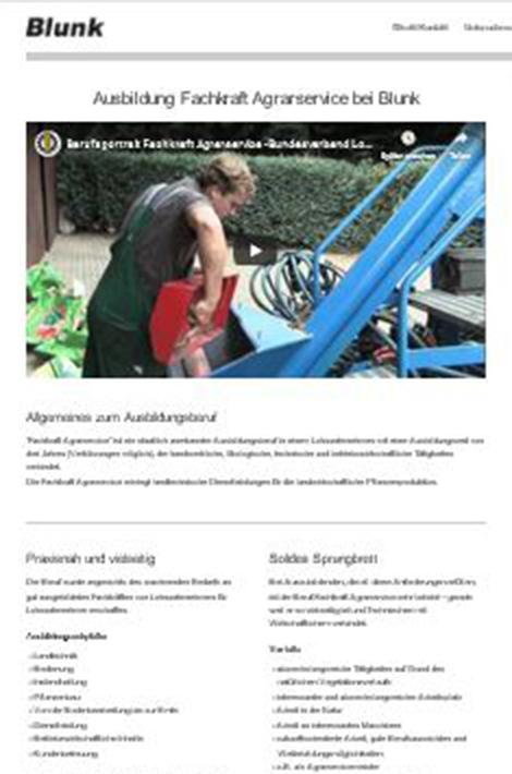 Informationen zur Ausbildung FAS bei Lohnunternehmen Blunk