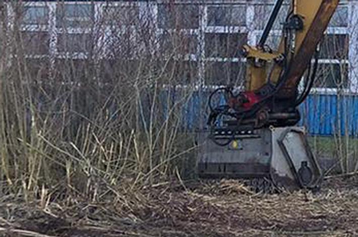Blunk mulcht nasse Fläche mit Moorlaufwerk