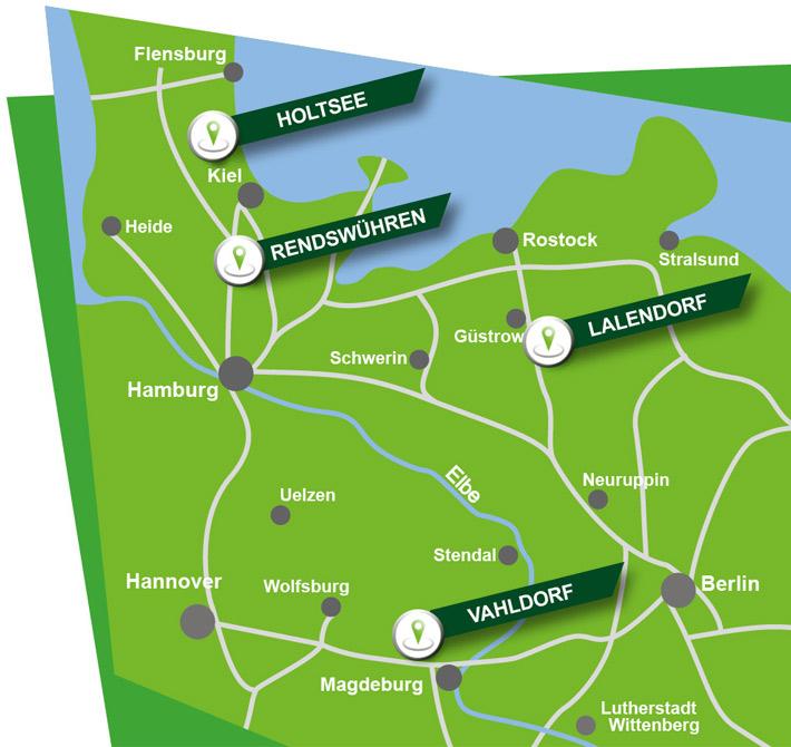 Karte mit den vier Standorten der Blunk-Gruppe - 210420