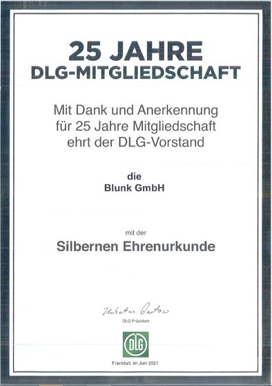 Silbern Eehrenurkunde für Jogi Blunk: 25 Jahre DLG Mitgliedschaft