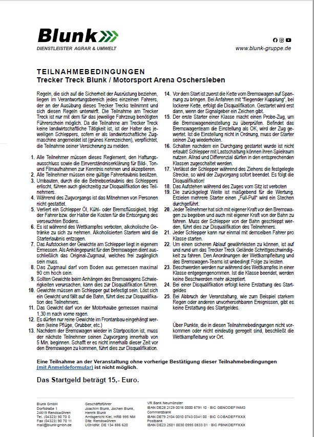 zum Download Teilnahmebedingungen Trecker Treck Blunk in Motor Sportarena Oschersleben